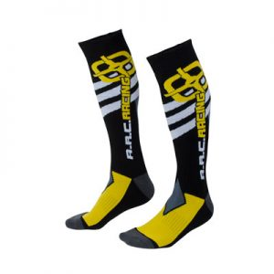 A.R.C. Moto Socks Size 10-13 Black/Yellow
