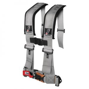 Dragonfire Racing 4-Point H-Style Safety Harness w/Adjustable Sternum Clip 3″ Passenger Side Grey for Can-Am Commander 1000 2011-2014