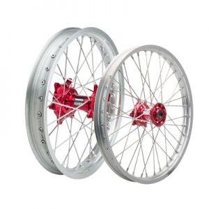 Tusk Impact Complete Front/Rear Wheel Kit 1.60 x 21 / 2.15 x 19 Silver Rim/Silver Spoke/Red Hub for Honda CRF250R 2014-2019