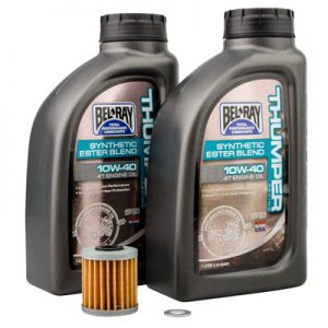 Tusk Oil Change Kit With Bel-Ray Thumper Synthetic Blend 10W-40 for Kawasaki KX250F 2004-2019