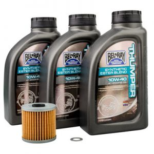 Tusk Oil Change Kit With Bel-Ray Thumper Synthetic Blend 10W-40 for Kawasaki KLR650 1987-2018
