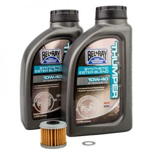 Tusk Oil Change Kit With Bel-Ray Thumper Synthetic Blend 10W-40 for Kawasaki KFX 450R 2008-2014