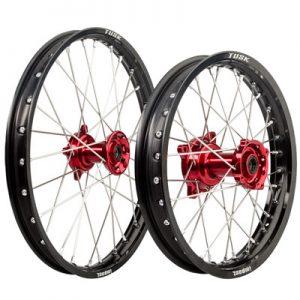 Tusk Impact Complete Front/Rear Wheel Kit 1.40 x 17 / 1.60 x 14 Black Rim/Silver Spoke/Red Hub for Honda CRF150R 2007-2009