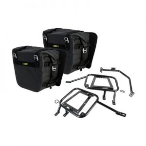 Tusk Pannier Racks with Nelson Rigg Sierra Dry Saddlebags Black for Suzuki DR-Z 400S 2000-2009
