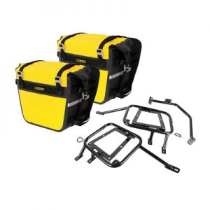 Tusk Pannier Racks with Nelson Rigg Sierra Dry Saddlebags Yellow for Suzuki DR650S 2015-2018