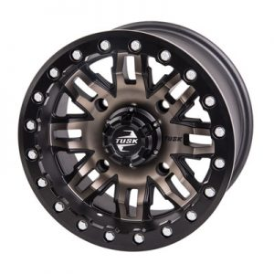 Tusk 4/156 Tusk Teton Beadlock Wheel 14×7 4.0 + 3.0 Smoke/Black for Kawasaki MULE Pro-DX 2016-2017