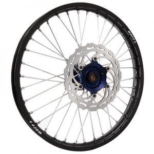 Warp 9 Complete Wheel Kit – Front 21 x 1.60 Black Rim/Blue Hub/Silver Spokes and Nipples for Yamaha WR250F 2001-2009