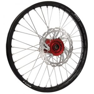 Warp 9 Complete Wheel Kit – Front 21 x 1.60 Black Rim/Red Hub/Silver Spokes and Nipples for Honda CRF250X 2004-2009