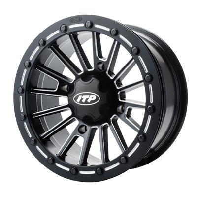 4/110 ITP SD Series Single Beadlock Wheel 15×7 5.0 + 2.0 Matte Black/Milled for Honda Big Red MUV700 2009-2012