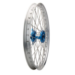 Tusk Impact Complete Wheel – Front 21 x 1.60 Silver Rim/Silver Spoke/Blue Hub for Kawasaki KX125 2004-2005