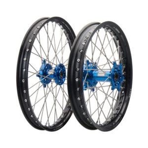Tusk Impact Complete Front/Rear Wheel Kit 1.60 x 21 / 2.15 x 19 Black Rim/Silver Spoke/Blue Hub for Kawasaki KX125 2004-2005