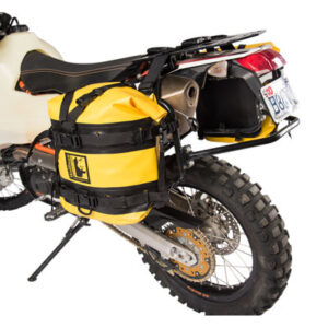 Tusk Pannier Racks with Wolfman Expedition Dry Saddle Bags Yellow for Suzuki DR-Z 400S 2000-2009